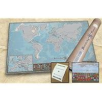 Scratchy Planet mapamundi para rascar en formato mini, mapamundi de rascar, mapamundi pequeño para rascar, atlas de rascar, mapa internacional Scratch, versión pequeña