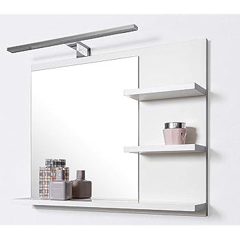 DOMTECH Badspiegel mit Ablagen Weiß mit LED Beleuchtung Badezimmer ...