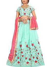 ShreeBalaji multicolor silk embroidary Lehenga Choli (SBE-015_Free Size)