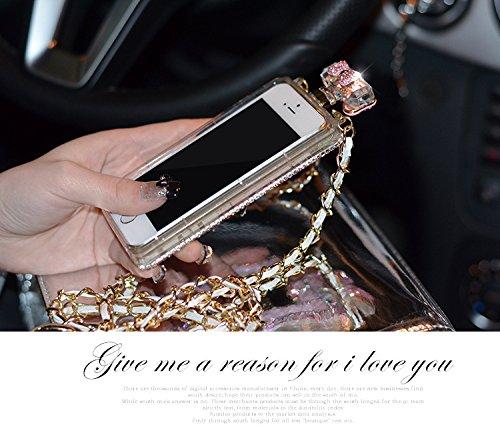 Coque iPhone 5/5S, iNenk® parfum bouteilles Cas téléphone Shell TPU Mous luxe Diamond avec chaîne Bowknot Glitter plein mode manchon protection pour les femmes-Rose Rose2
