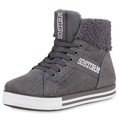 SCARPE VITA Damen Sneaker High Warm Gefütterte Turnschuhe Winter Schuhe Prints 170128 Grau 37