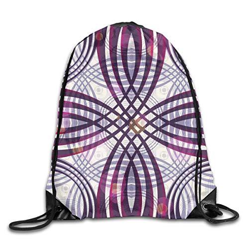 Groovy Cord (EELKKO Drawstring Backpack Gym Bags Storage Backpack, Geometric Groovy Curved Trippy Lines Vintage Artful Pattern,Deluxe Bundle Backpack Outdoor Sports Portable Daypack)