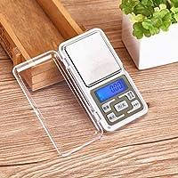 Báscula electrónica de precisión de mini bolsillo portátil con tecla de presión inglesa - Blanco