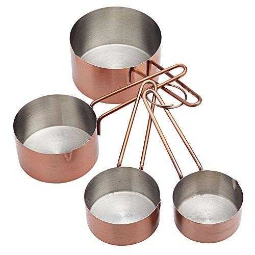 The Kitchen Gift Company Cuivre Tasses à mesurer – Lot de 4 Scoop Lot Cuisson Tasses à mesurer Cuillères Kits