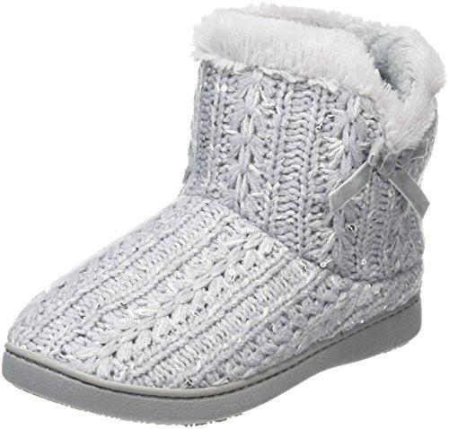 isotoner-damen-sparkle-knit-pillowstep-bootie-flache-hausschuhe-grau-395-eu