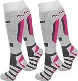 normani 2 Paar Skisocken/Ski-Kniestrümpfe mit Spezialpolsterung und Schafwollanteil Farbe Ripp/Weiß/Pink Größe 39/42