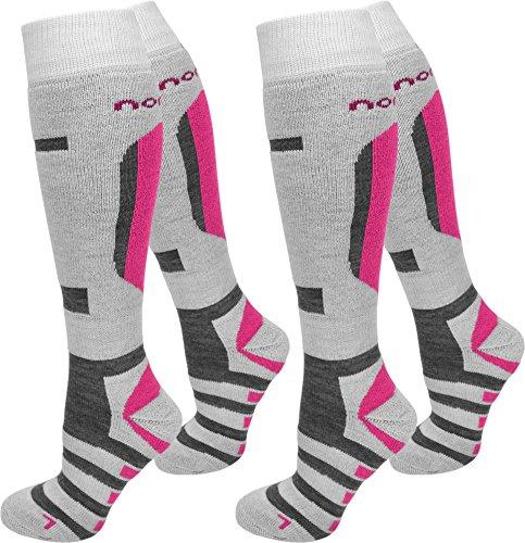 normani 4 Paar Skisocken Ski Kniestrümpfe Spezielverstärkungen und Polster an Sohle Farbe RIPP/Weiß/Pink Größe 39/42