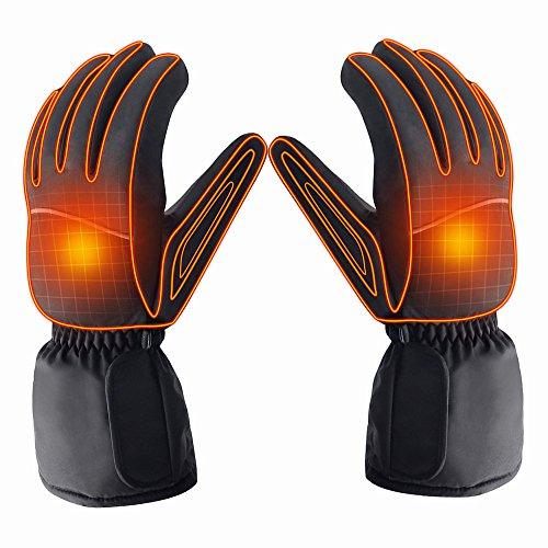 Azornic batteriebetrieben wiederaufladbar beheizbare Handschuhe für Männer/Frauen, wasserdicht isoliert Elektrische Heizung Thermo-Handschuhe für Winter Warmer Outdoor Camping Wandern Jagd Elektrisch Beheizbare Handschuhe