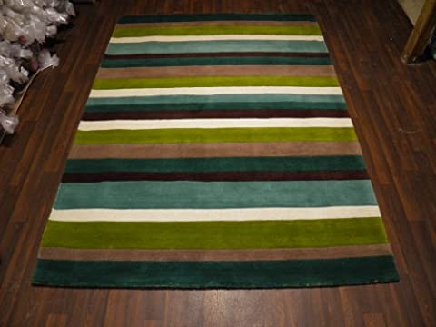 Indian Hand Tufted Textured 100% Wool Rug 160cm x 230cm Approx 8x5 Green Modern Design Top Quality