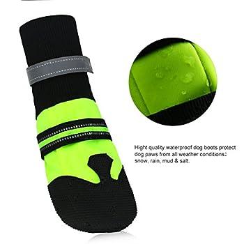 MagicZone4 pcs Bottes de Protection pour Chien, étanche Chaussures de chien, Vert fluo, Anti-Dérapant