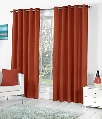 Obro Set of 1pc Premium Solid Fancy Blackout Elegant Ringtop Plain Polyester Eyelet 8ft Door Curtains - Rust