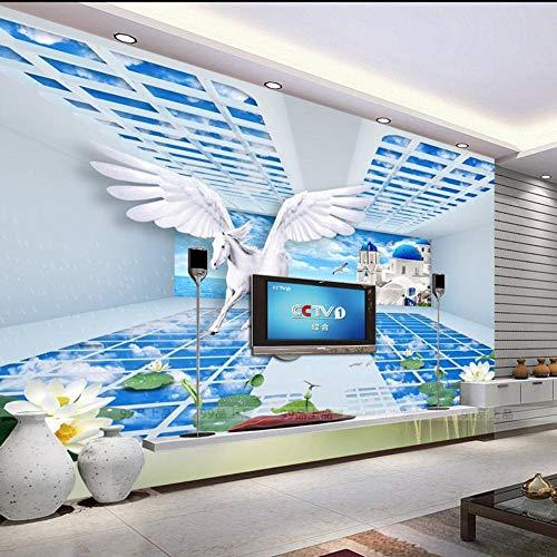 ZCHENG Fototapete für Wände 3D dreidimensionaler Raum großes Tapetenhintergrund moderner minimalistischer Fernseher 3D, 430x300 cm (169.3 by 118.1 in)