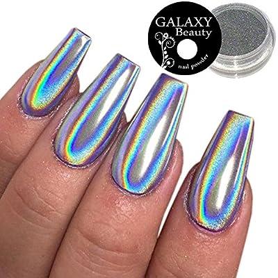 Galaxy Beauty 1.0 g Holographic Unicorn Rainbow Nail Powder Silver Chrome Mirror Laser Effect
