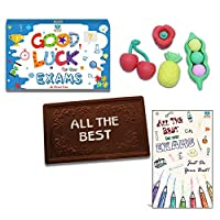BOGATCHI Exam Gift All The Best Chocolate, Dark bar 70g + Free Good Luck Card+ Fruit Erasers