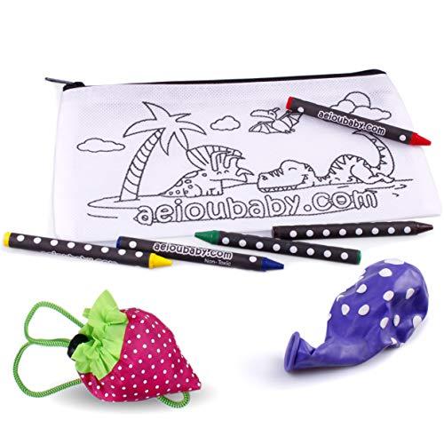 aeioubaby.com 25 Estuches para Colorear + Bolsa Reutilizable | 25 Bolsas Individuales con 5 Ceras de Colores y Globo | Regalo niños Fiestas y cumpleaños