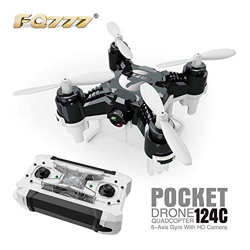 Preisvergleich Produktbild FQ777-124C MINI Micro Drone mit 2.0MP HD Kamera mit Controller-Transmitter RC Quadcopter RTF Headless Modus One Key Return (Schwarz)