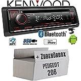 Peugeot 206 - Autoradio Radio Kenwood KDC-BT520U - Bluetooth CD/MP3/USB - Einbauzubehör - Einbauset