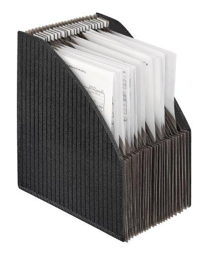 Veloflex 4446280 Stehsammler-Fächerbox A4, Fächermappe, Fächer-Stehsammler, 6-56 cm, mit 23 Fächern, schwarz