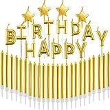 41 Pièces Ensemble de Bougies Dorées Happy Birthday Lettres Bougies Bougies Étoiles Scintillantes Longues Bougies Minces de Petit Gâteau pour la Décoration de Gâteau d'anniversaire