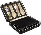 Uhrenetui zur Aufbewahrung von 8 Uhren - Schwarz 24 x 18 x 6 cm - Uhrenbox zur Präsentation Ihrer Armbanduhren - Grinscard