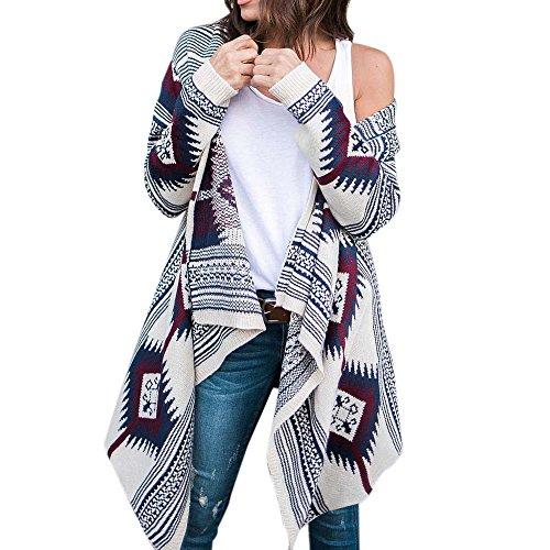 Damen Strickjacke,Frashing Frauen lange Hülsen Geometrie druckte Unregelmäßige übergroße Strickjacken Outwear Mantel (Blau, L) (Anzug Classic Breasted Double)