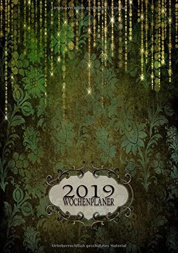 2019 Wochenplaner: Wöchentliche Grid Style Planner Termin Organizer Agenda A5 grüner Blumenbarock (Barocke Kalenderbücher)