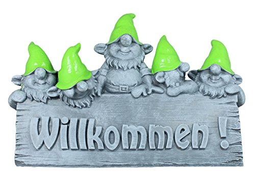 Großes Willkommen Schild Wichtel Zwerg Gartenfigur Gartendeko Dekofigur Beton Optik