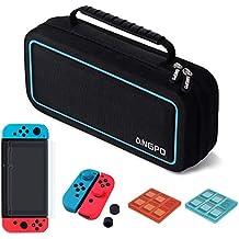 ANGPO für Nintendo Switch Tasche Kit Zubehörsets,Wasserfeste Stoßfest Hartschalentasche/ Joy-Con Silikon Abdeckung/9H Glas Schutzfolie/Spiel Karten Hülle (Blau)