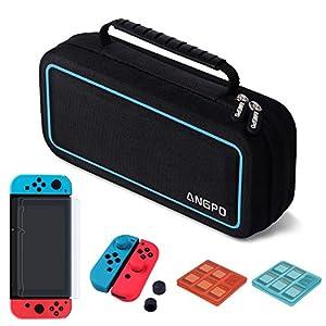 ANGPO 10 in 1 Zubehör für Nintendo Switch, Nintendo Switch Tasche, Silikon Hülle mit Daumen Kappen für Joy Con Controller, 2X Aufbewahrungsbox für Spiele, 2X Display Schutzfolien
