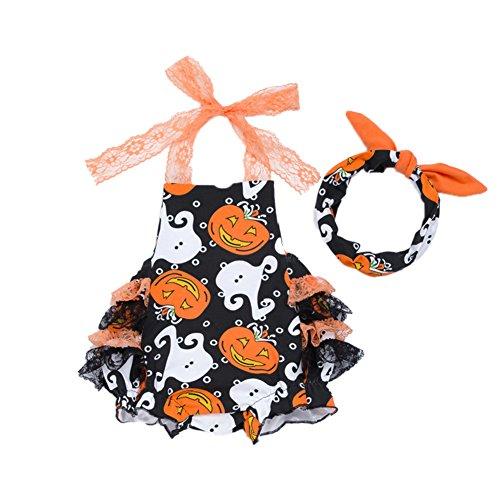 Spielanzug Bauch Schutz Krankenpflege Overall Säuglings schleichende zusammengesetzte Kleidung Nettes Halloween Baby Overall Kostüm mit Bowknot Kopf Band (Halloween Film-kürbis-kopf)