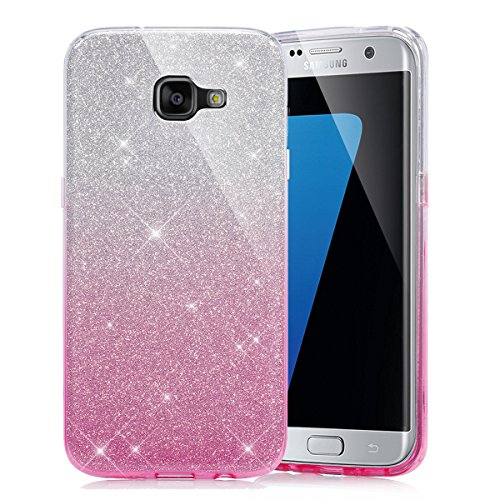 Galaxy A7 2016 Case  Cover Samsung Galaxy A7 2016   EINFFHO Samsung Galaxy A7 2016 Silicone Case  2 in 1  Shiny Sparkle Gradient Glitter Bling TPU Protective Shell Ultra Thin Soft Flexible Gel Silicone Cover for Samsung Galaxy A7 2016  SM-A710F  Glitter Pink