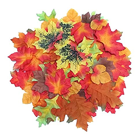 Luxbon - 100pcs Artificial Autumn Fall Maple Leaves Multi Color - Great Autumn Table Scatters for Fall Weddings & Autumn Parties