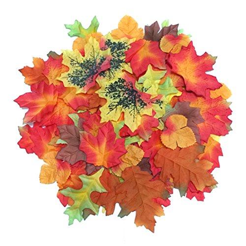 Luxbon - Ca. 100 Stück künstliche Herbst-Ahornblätter Multicolor Great Autumn Tabellen-Streuung für Herbst Hochzeiten & (Blatt Kürbis)