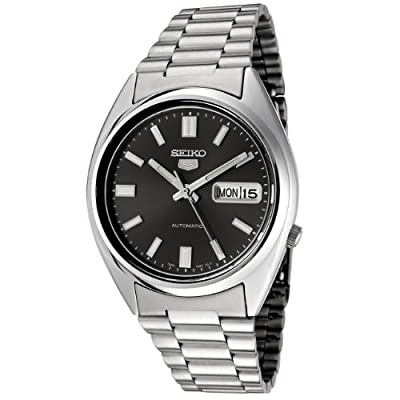 Seiko SNXS79K - 5 Gent Men's Automatic Analogue Watch, Black Dial, Steel Bracelet Grey