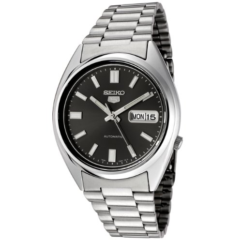 Seiko-SNXS79K-5-Gent-Mens-Automatic-Analogue-Watch-Black-Dial-Steel-Bracelet-Grey