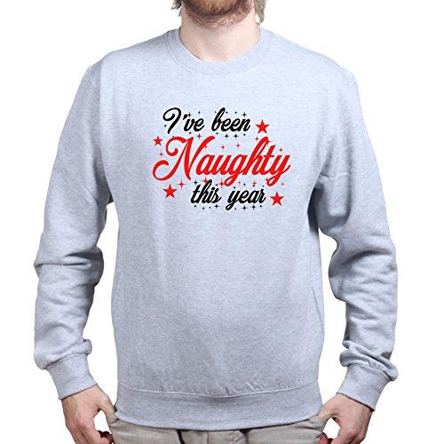 Mens Naughty Christmas Gift Present Tree Sweatshirt L Sports Grey