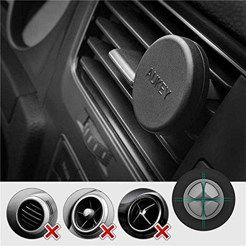 AUKEY Soporte Móvil Coche Magnético Universal (2 Pack) para Rejillas del Aire Soporte Smartphone Coche para iPhone 7 / 6s / 6 / 5s / 5, Samsung Note 8 / S8 / Note 4, LG G3 y Dispositivo GPS - Negro