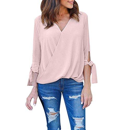 Preisvergleich Produktbild Resplend Frauen V-Ausschnitt T-Shirt Bluse Bandage Elegant Langarm Pullover Chiffon Langarmshirts