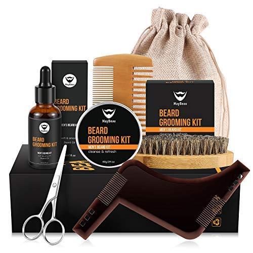 MayBeau Bartpflege Set 8 Teiliges Bartpflegeset Geschenke inkl. Beard Balm(60g) Bartöl Bartschablonen Bartbürste Bartschere Bartkamm mit Reisetasche und Reisebox Geschenkset für Männer