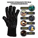 Viktorius Grillhandschuhe hitzebeständig bis 500°C Premium Ofenhandschuhe Extra Lang | BBQ Handschuhe Inklusive Grillzange - 4
