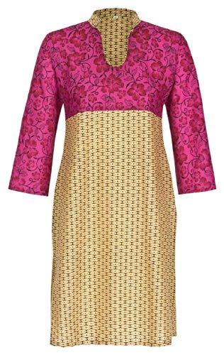 Maharanis traditionelle, indische Kurti Tunika 7/8-Arm, reine Baumwolle XL