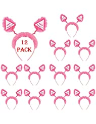 12 Pack of Hen Party Head Boppers Pink Fluffy Fur Hen Night Accessories Fancy Dress Headband by Shatchi