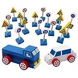 Segnali stradali per bambini, Hunpta bambini giocattolo di legno segnali stradali Road Gift Game Kids Role Play Fun Car Game set, Multicolore, 1
