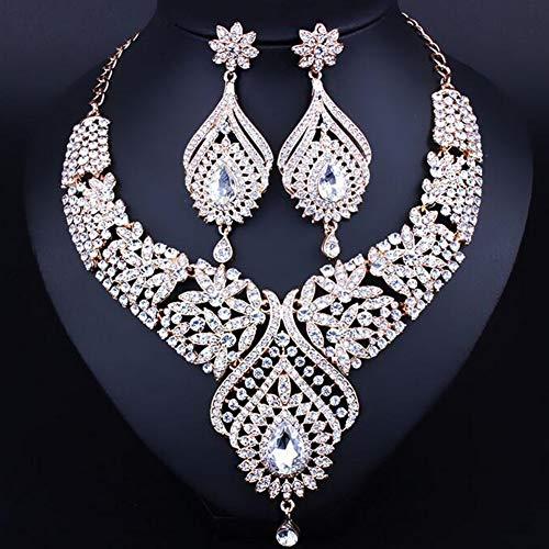 Frauen Indischen Bollywood Sparkling Strass Braut Schmuck Set Ohrringe Halskette Anhänger für Damen,B