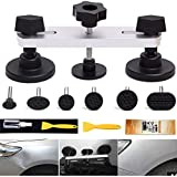 Manelord Auto Body Paintless Dent Repair Tool, Sliver Bridge Dent Puller with 7Pcs Puller Tabs for Car Dent Removal, Door Dings Repair and Hail Damage Repair, Minor Dent Removal