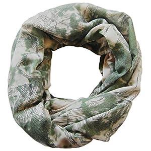 Damen Loop Schal Anna, großes Schlauchtuch mit Blätter Motiv in grau - grün