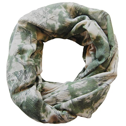 6c3f98280c76ff Damen Loop Schal Anna, großes Schlauchtuch mit Blätter Motiv in grau - grün
