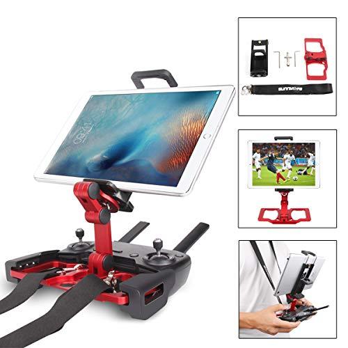 Flycoo Tragbare Aluminium-Halterung für Tablet + Gurt + Halterung für CrystalSky für DJI Mavic Air/Mavic Pro/Spark Fernbedienung Zubehör für 110-190 mm Tablet 54-83 mm Telefon (Rot)