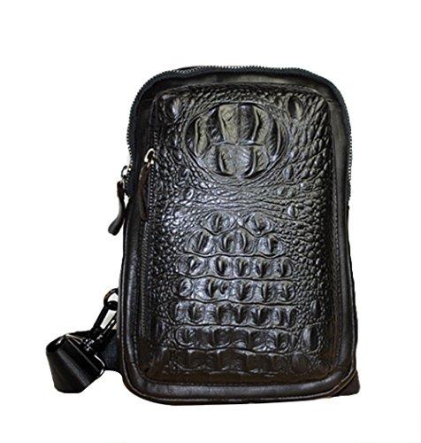 Genda 2Archer Weinlese -Krokodil Kleine Brusttasche Reisetasche aus Leder (kaffee) schwarz