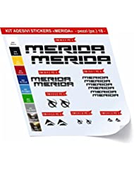 pegatina para bicicleta MERIDA Juego de pegatinas stickers 18 piezas-SCEGLI sufrido COLORE-bike cycle pegatina Cod.0420 Nero cod. 070